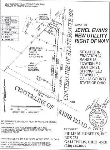Kerr Road and S. R. 850 Bidwell, OH 45614