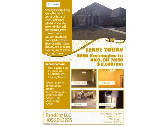 Rental Homes for Rent, ListingId:34064856, location: 5000 Kennington Lane Oklahoma City 73150