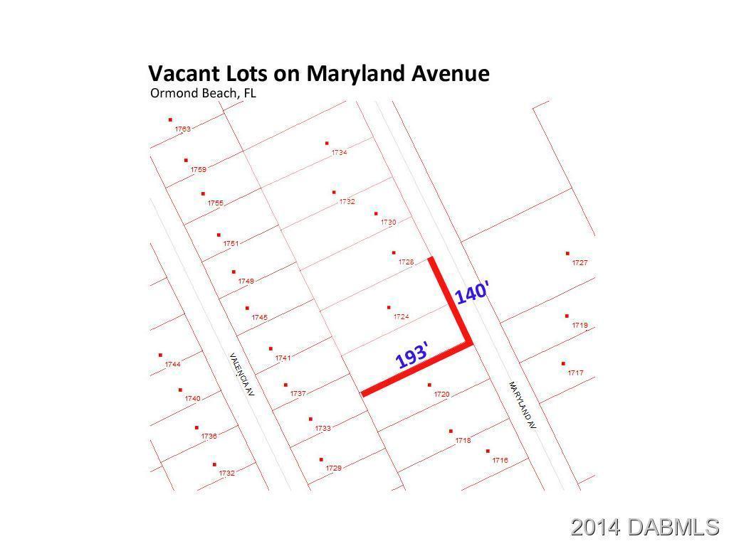 Land for Sale, ListingId:30917207, location: 1724 MARYLAND Avenue Ormond Beach 32174