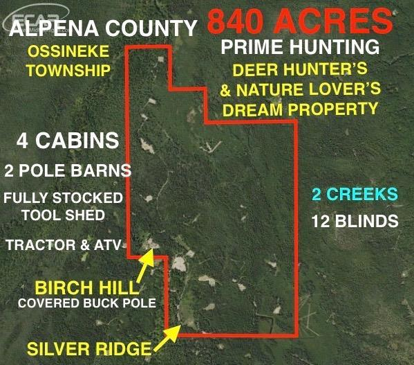 840 acres Hubbard Lake, MI