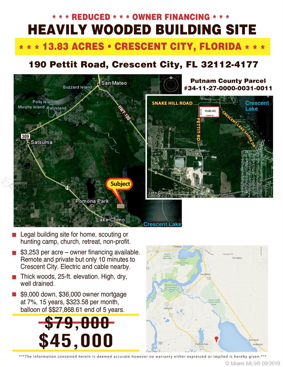 primary photo for 190 PETTIT RD-INTERLACHEN-FL, Other City - In The State Of Florida, FL 32112, US