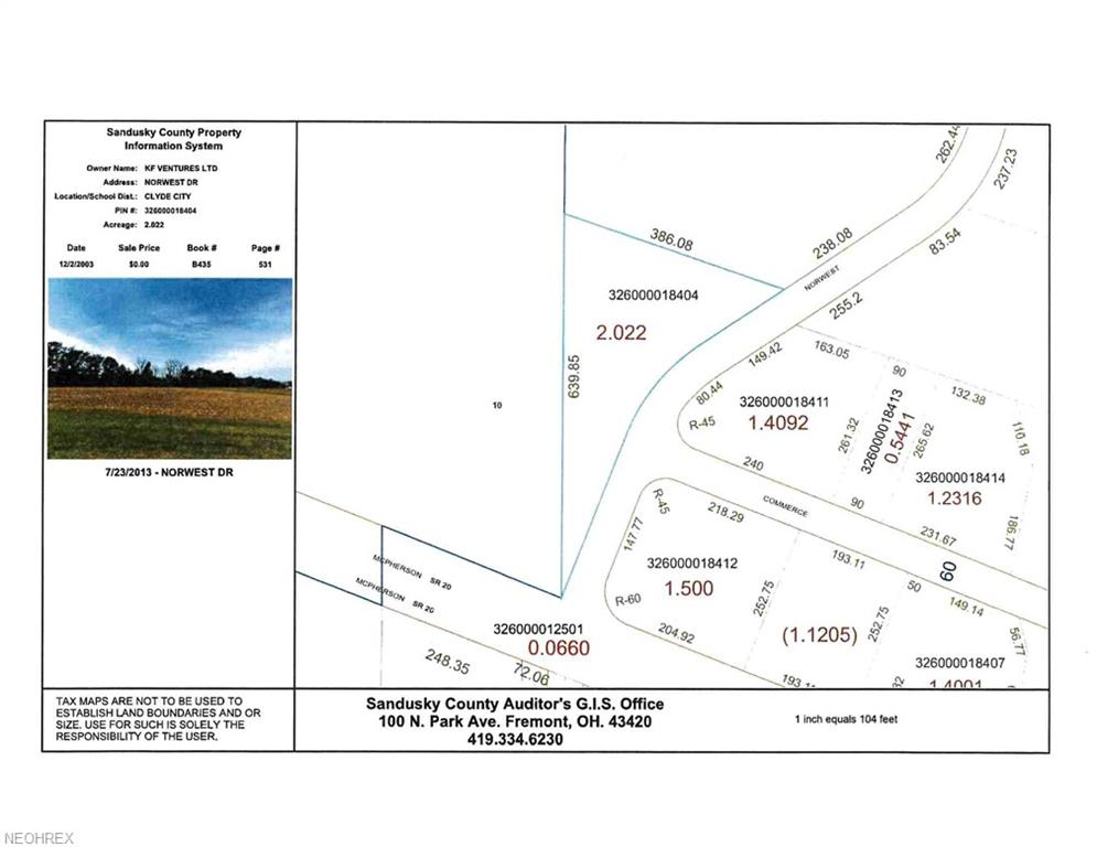 2.022 Ac V/l Norwest St Clyde, OH 43410