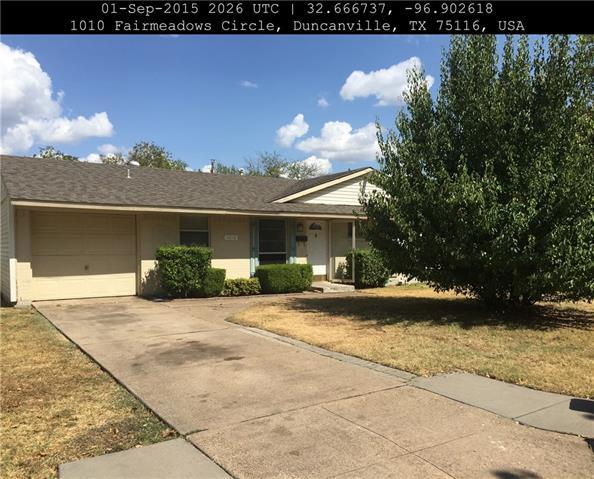 Rental Homes for Rent, ListingId:37008161, location: 1010 Fairmeadows Circle Duncanville 75116