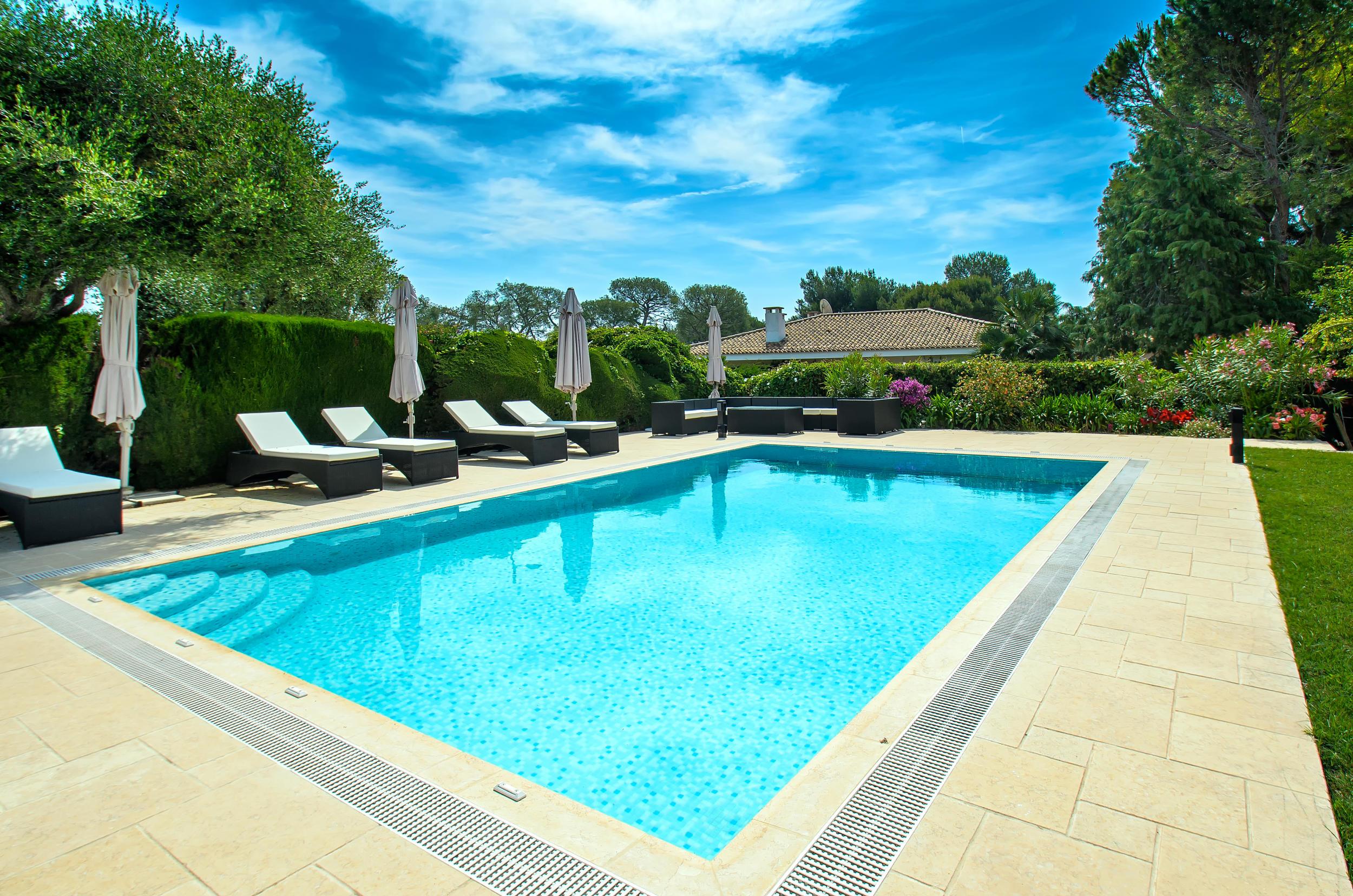 平花園和游泳池的別墅