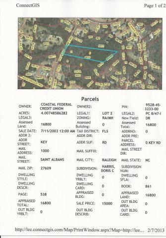 Real Estate for Sale, ListingId:29545845, location: 0 Key Road Sanford 27330